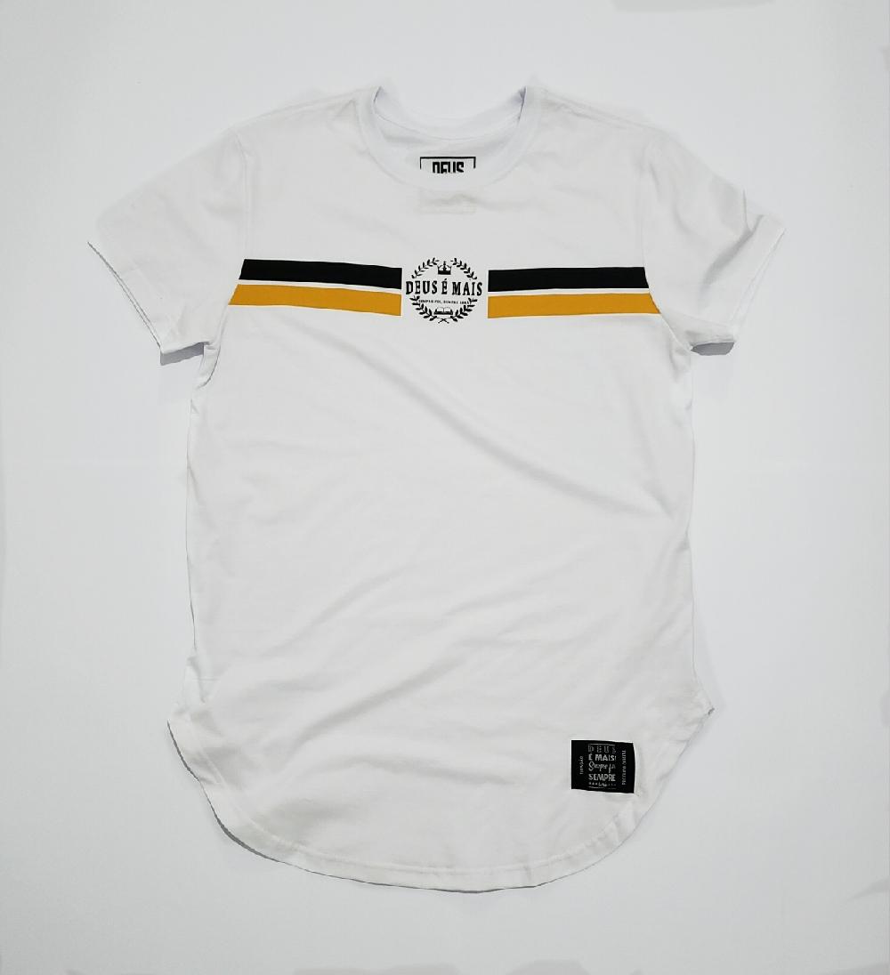 Camiseta Deus é Mais Unissex Branca Modelo Longline Estampa Pretaamarelo 100 Algodão